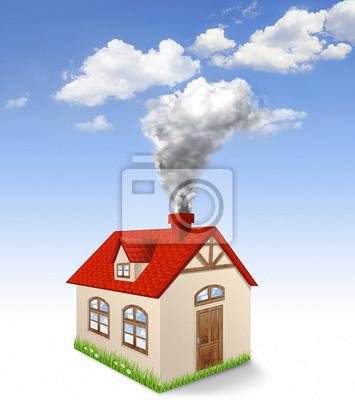 Haus Produce Rauch aus Kamin