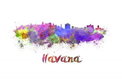 Sticker Havana skyline in watercolor