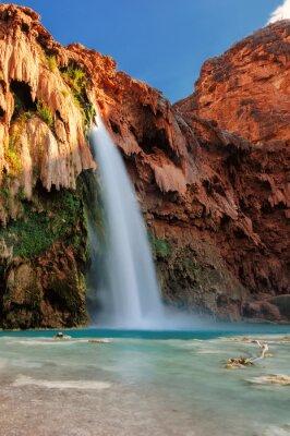 Sticker Havasu Falls bei Sonnenuntergang, Wasserfälle im Grand Canyon, Arizona