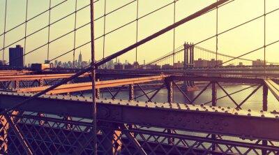Sticker Hazy Stadt-Skyline von der Brooklyn-Brücke am Sonnenuntergang