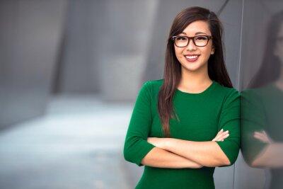 Sticker Headshot von niedlichen asiatischen Frau professionell vielleicht Buchhalter Architekt geschäftsfrau Anwalt Rechtsanwalt