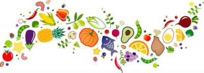 Sticker healthy, colorful & balanced diet, food icon banner: flat lay of cartoon foods and ingredients isolated on white – vector illustration