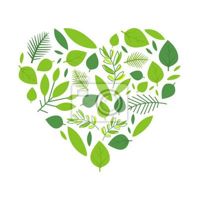 Sticker Heart of Green Tree Leaves, Spring Season Element Vector Illustration