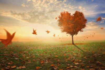Sticker Heart shaped Baum im Herbst