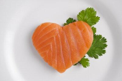 Sticker Heart shaped Lachs auf weißem Teller