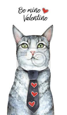 """Heilig-Valentinstag, 14. Februar, Kartendesign. """"Sei Mine Valentine"""" Worte. Graue nette Katze der getigerten Katze kleidete in der Abendgarderobe mit roten Herzen an. Handgemalte Aquarellillustration,"""