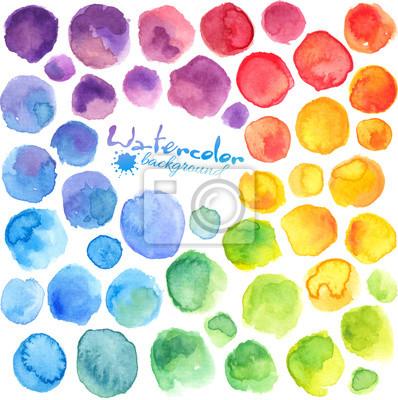 Sticker Helle Regenbogenfarben Aquarell gemalt Vektor Flecken