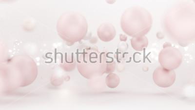 Sticker Heller weißer Hintergrund mit Ballonen. 3d Abbildung, Wiedergabe 3d.