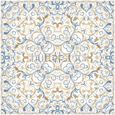 Sticker Helles Farbmuster im orientalischen Stil. Quadratische Verzierung für Tücher, Schals oder Kissen. Kann zum Bedrucken von Stoff oder Papier verwendet werden. Vektor-Illustration