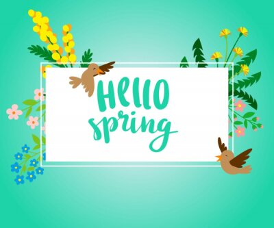 Hello Spring square banner with spring flowers and birds vector illustration. Card for spring season with white frame, birdy and herbs. Promotion offer with spring leaves and flowers decoration.