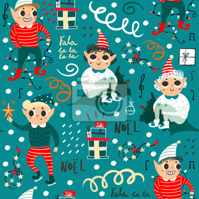 Hello winter. Cute christmas elves. Hand drawn vector seamless pattern. Green background