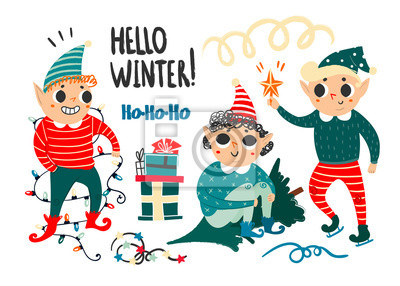 Hello winter. Cute christmas elves. Hand drawn vector set. All elements are isolated