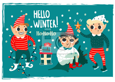 Hello winter. Cute christmas elves. Hand drawn vector set. Green background. All elements are isolated