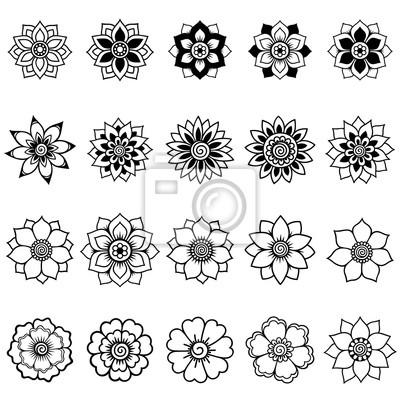 Set Mehndi Flower Pattern Henna Drawing Stock 15