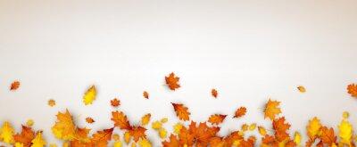 Sticker Herbst Banner mit orange Blätter.