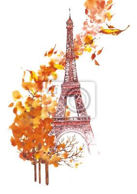 Herbst Paris Aquarell