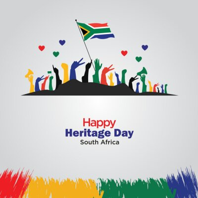 Sticker Heritage Day in South Africa. Public holiday celebrated on 24 September. Template for background, banner, card, poster. vector illustration.