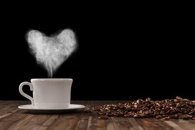 Sticker Herz aus Dampf über Tasse Kaffee