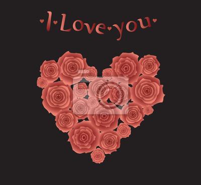 Herz aus roten Rosen.