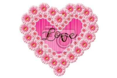 Sticker Herz mit Wort Liebe und rosa Blume
