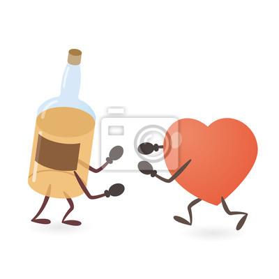 Herz-und Alkohol-Getränk-Flaschen-Kämpfen