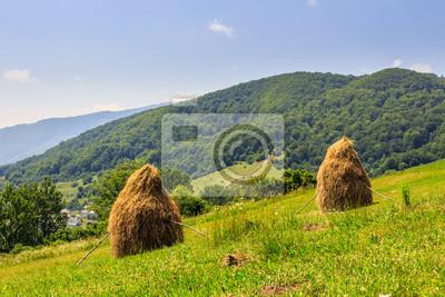 Heuhaufen auf einem Hügel nahe dem Dorf