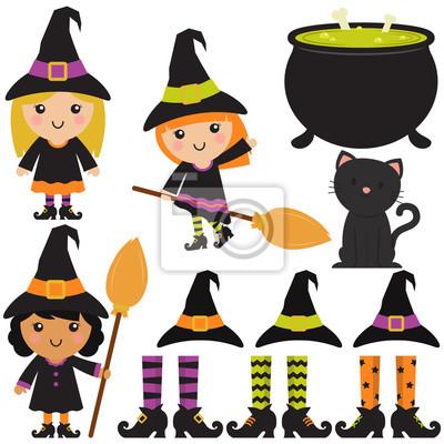 Hexen nettes halloween / kessel / besen im weißen hintergrund ...
