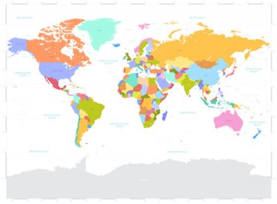 Sticker Hi Detail colored Vector Political World Map illustration