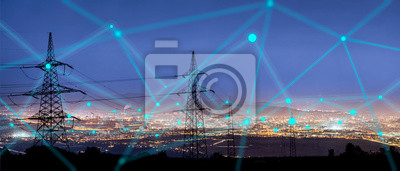 Sticker High power electricity poles in urban area connected to smart grid. Energy supply, distribution of energy, transmitting energy, energy transmission, high voltage supply concept photo.