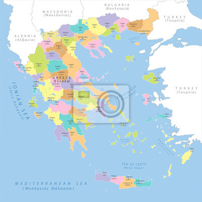 Sticker Highly detailed political map of Greece, vector.