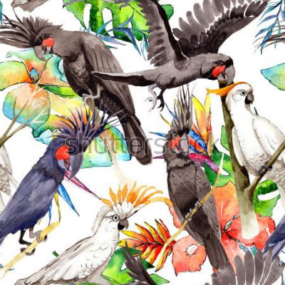 Sticker Himmelvogel-Macawpapageienmuster in den wild lebenden Tieren durch Aquarellart. Wilde Freiheit, Vogel mit Flügeln. Aquarellvogel für Hintergrund, Beschaffenheit, Muster, Rahmen, Grenze oder Tätowierun