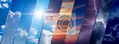 Sticker Hintergrund der Wettervorhersage, Konzept des Klimawandels