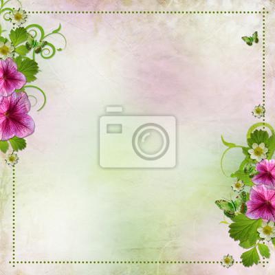 Hintergrund für die Glückwunsch -Karte in rosa und grün