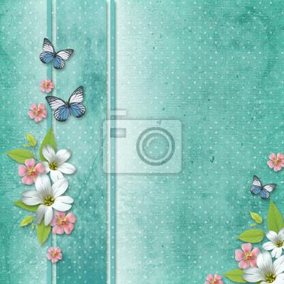 Hintergrund mit Blumen und Schmetterling