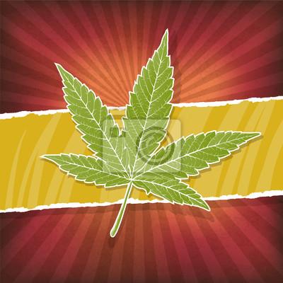 Hintergrund mit Cannabis-Blatt und Rasta Farben
