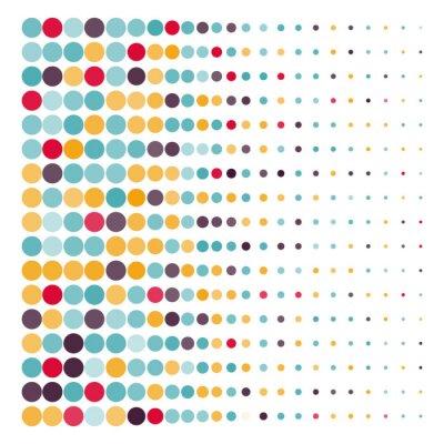 Sticker Hintergrund mit den farbigen punktierten Kreisen in einem Vektor