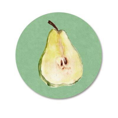 Sticker Hintergrund mit Früchten. Aquarell-Illustration