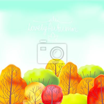 Hintergrund mit Herbst treesand blauen Himmel.