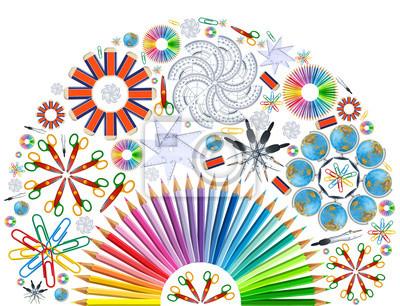 Hintergrund mit Kaleidoskop von Schulmaterial