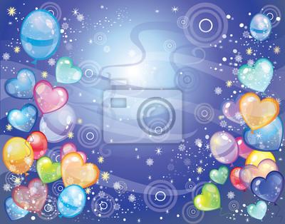 Hintergrund mit Luftballons dunkelblau