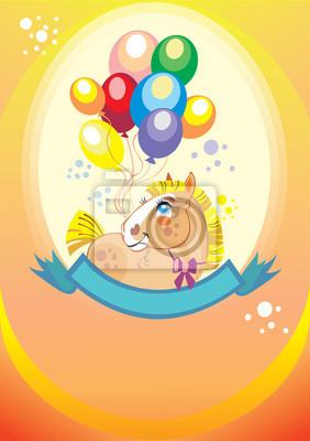 Hintergrund mit Luftballons und Pony