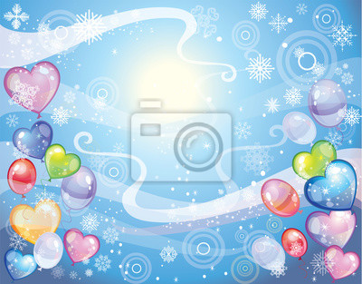 Hintergrund mit Schneeflocken und Ballons