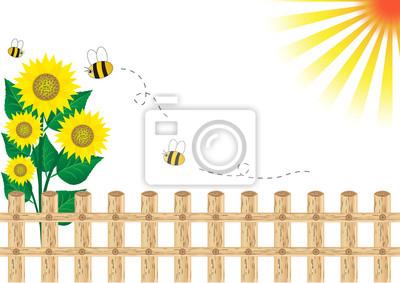 Hintergrund Sonnenblumen auf einem Holzzaun