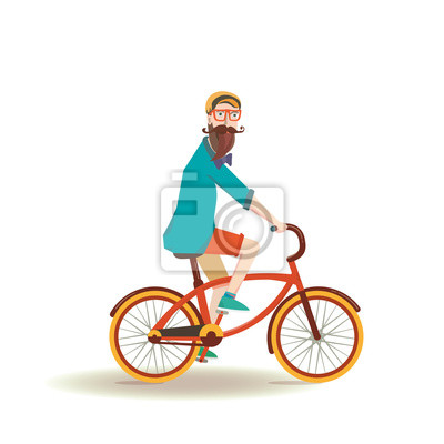 Hipster, bearded man on vintage bicycle.