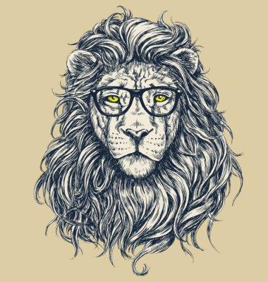 Sticker Hipster lion vector illustration. Glasses separated.