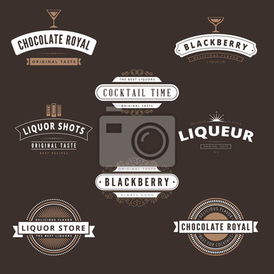 Hipster Logo Liquore Design Vector Template Typografie Notebook