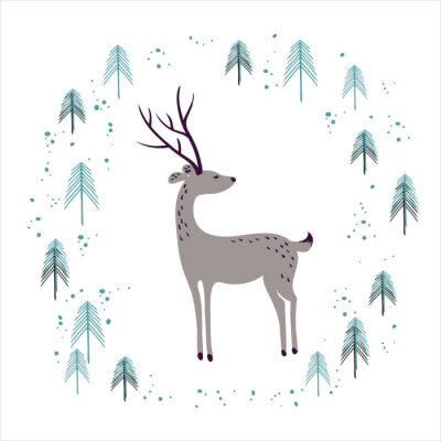 Sticker Hirsche im Winter Kiefernwald isoliert auf weiß.