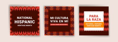 Sticker Hispanic heritage month. Banners for social media, cards, posters and postcards.
