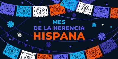 Sticker Hispanic heritage month. Vector web banner, poster, card for social media, networks. Greeting in Spanish Mes de la herencia hispana text, Papel Picado pattern, perforated paper on black background.