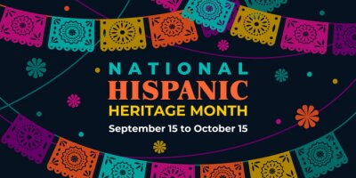 Sticker Hispanic heritage month. Vector web banner, poster, card for social media, networks. Greeting with national Hispanic heritage month text, Papel Picado pattern, perforated paper on black background.